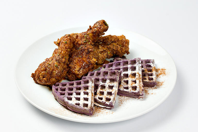 Soy Ginger Glazed Chicken and Ube Waffles