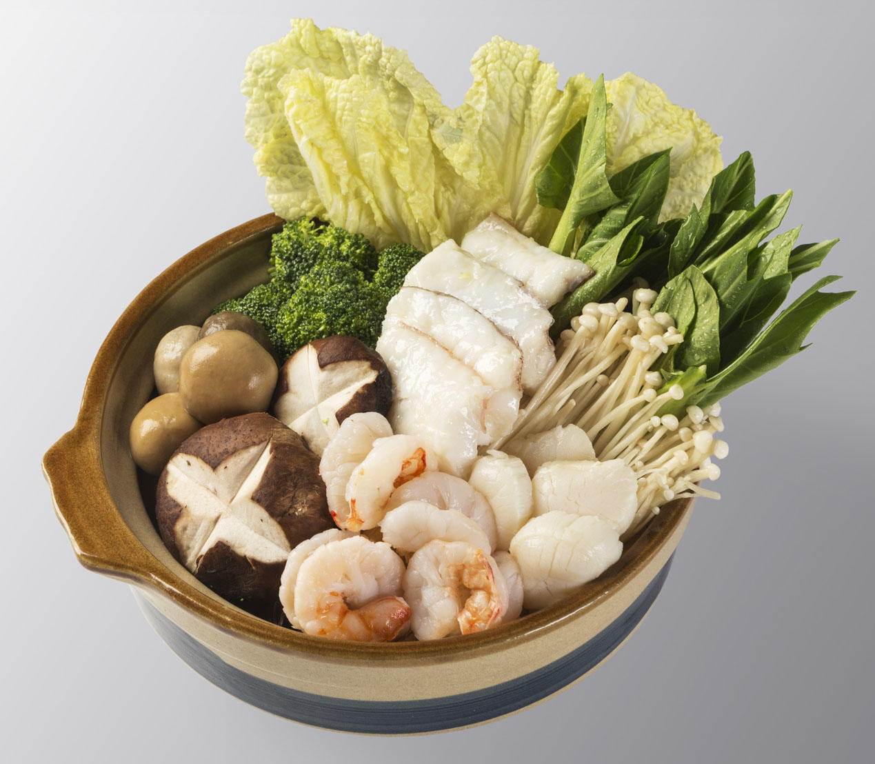 Assorted Seafood & Vegetables in Fish Soup Hot Pot