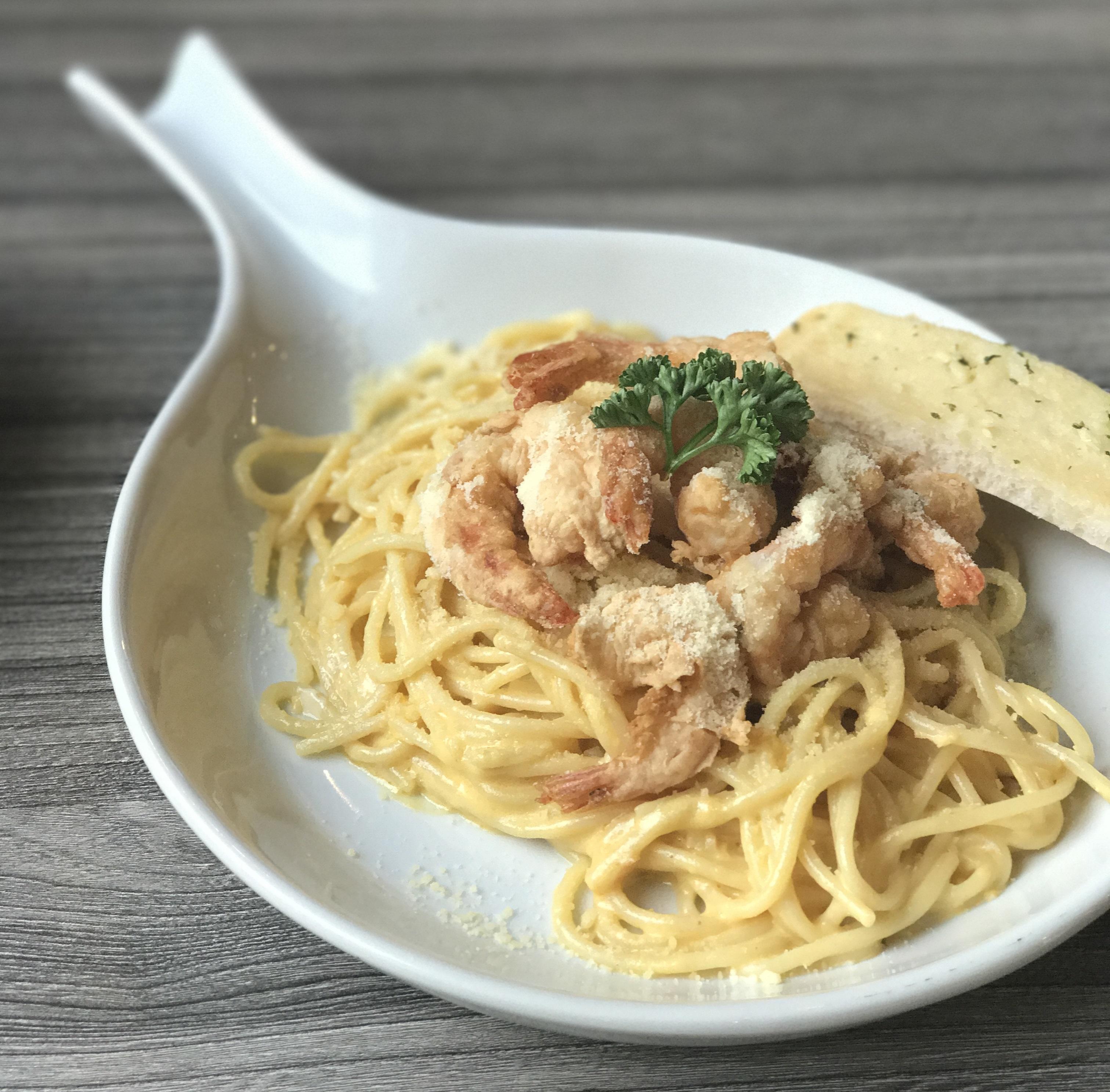 Salted Egg Pasta w/ Shrimp
