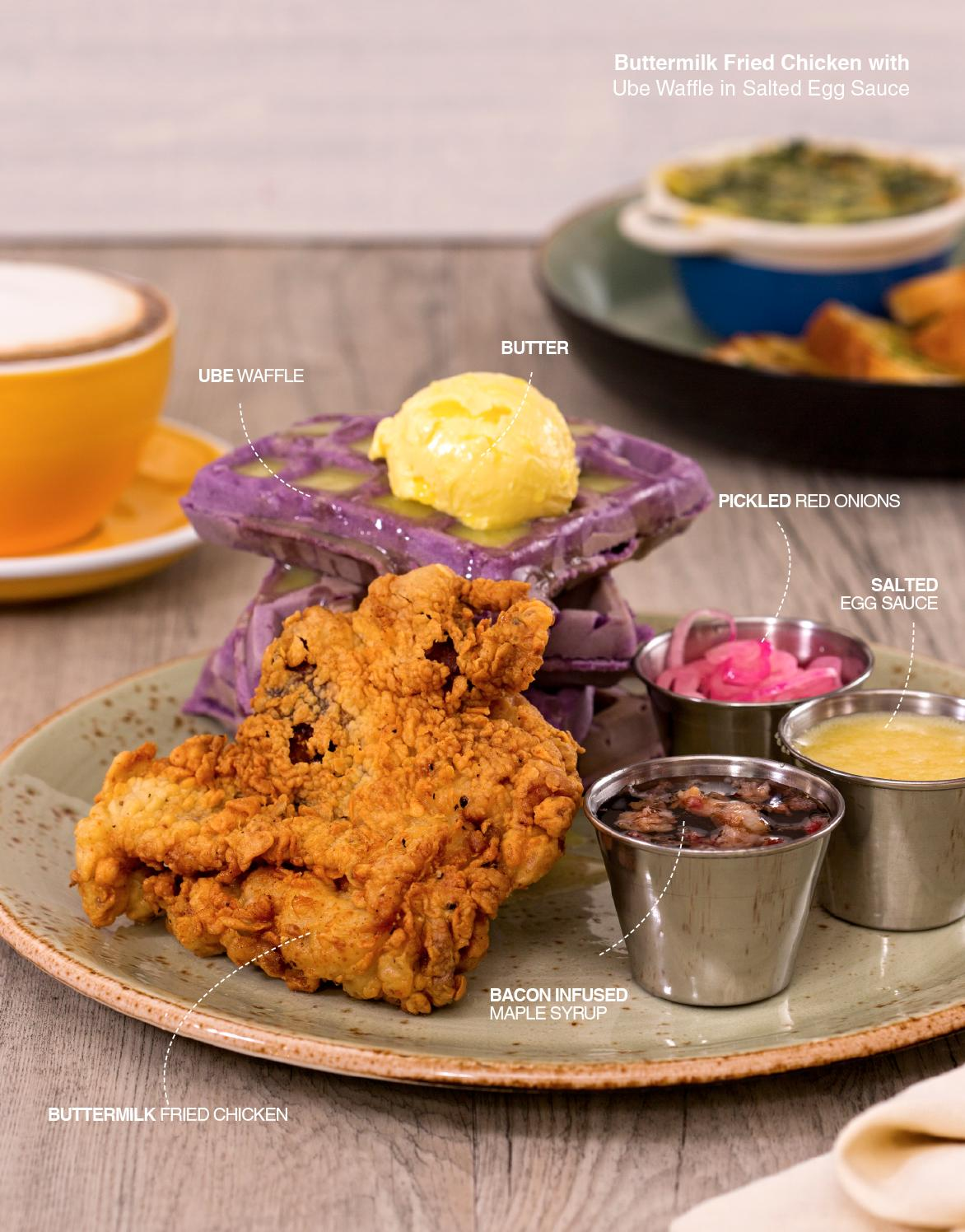 Buttermilk Fried Chicken with Ube Waffle in Salted Egg Sauce