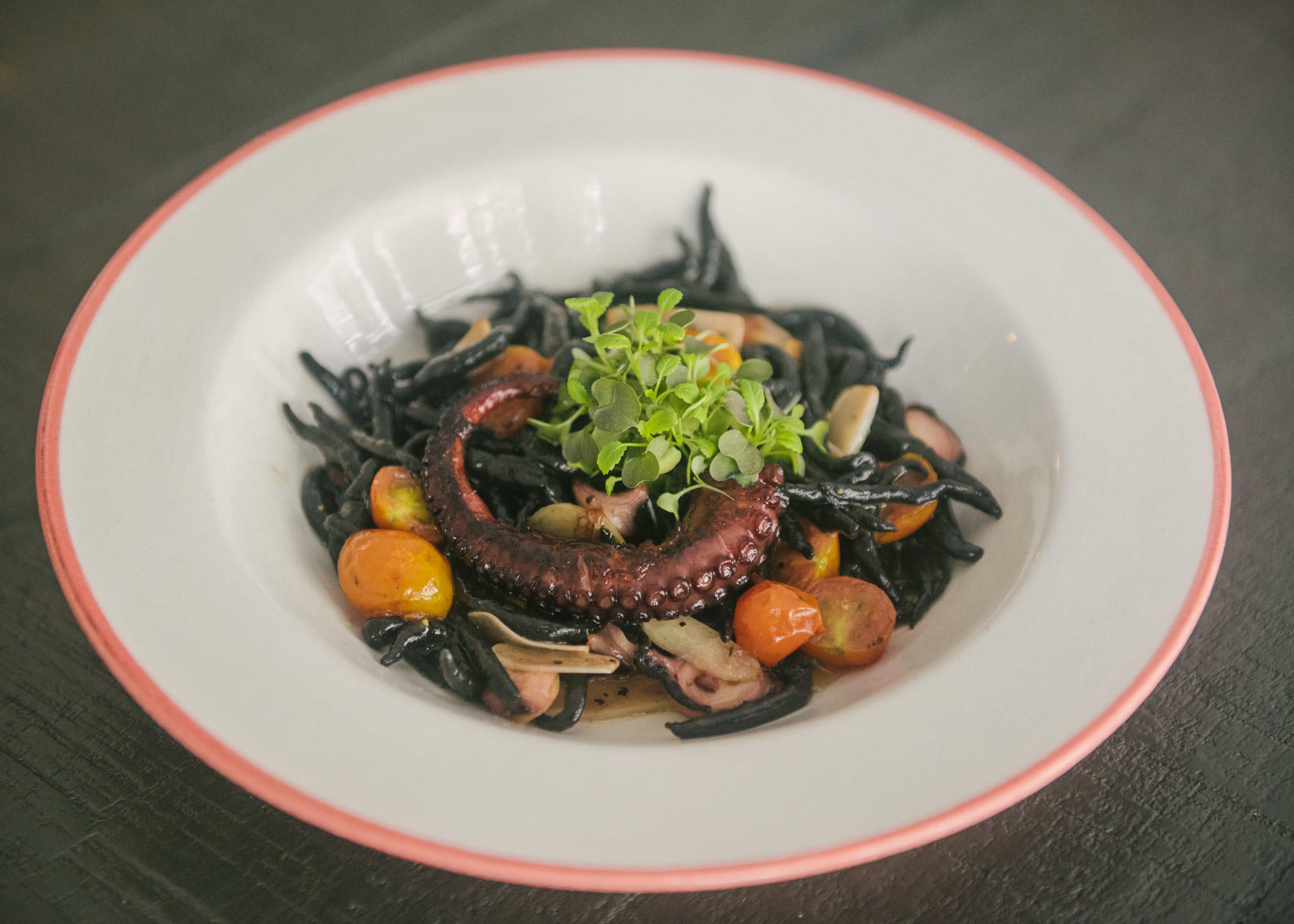 "9 hour Braised then Grilled Polpo, Chef's Squid Ink ""Pici"", Cherry Tomatoes, Garlic and Chillies"