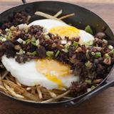 Sisig Sausage and Egg on Bed of Shoe String Potatoes